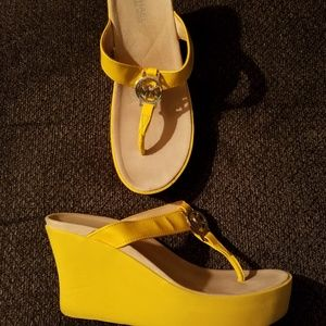 Michael Miachael Kors Logo Patent Yellow Wedges